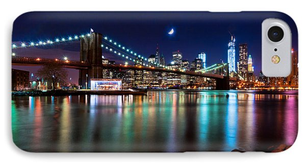 IPhone Case featuring the photograph New York Skyline And Brooklyn Bridge With Crescent Moon Rising by Mitchell R Grosky