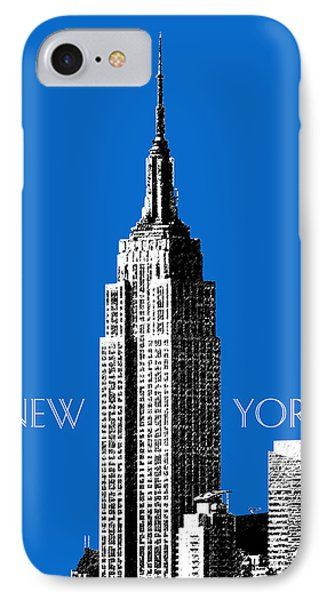 New York Skyline Empire State Building - Blue Phone Case by DB Artist