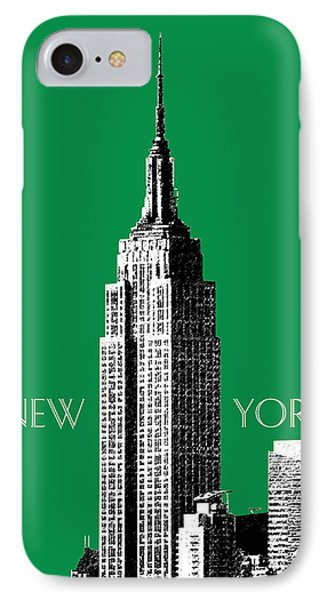 New York Skyline Empire State Building - Forest Green IPhone Case by DB Artist