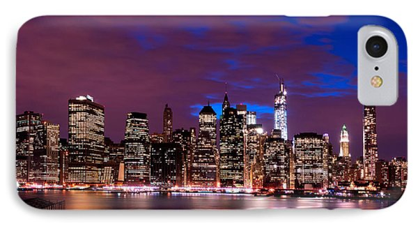 IPhone Case featuring the photograph New York Skyline Magic Hour-- From Brooklyn Heights Promenade by Mitchell R Grosky
