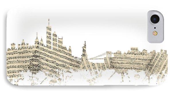 New York Skyline Sheet Music IPhone Case by Michael Tompsett