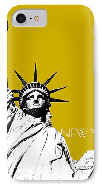New York Skyline Statue Of Liberty - Gold IPhone 7 Case by DB Artist