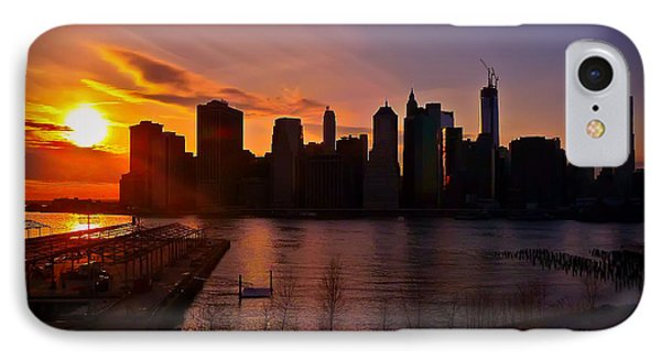 IPhone Case featuring the photograph New York Skyline Sunset -- From Brooklyn Heights Promenade by Mitchell R Grosky