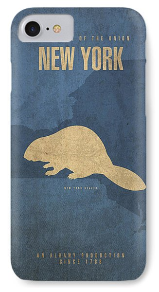 New York State Facts Minimalist Movie Poster Art  IPhone 7 Case by Design Turnpike