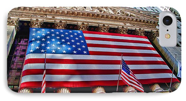 New York Stock Exchange With Us Flag IPhone Case by David Smith