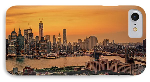 City Sunset iPhone 7 Case - New York Sunset - Skylines Of Manhattan And Brooklyn by Vivienne Gucwa