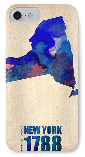 New York Watercolor Map Phone Case by Naxart Studio