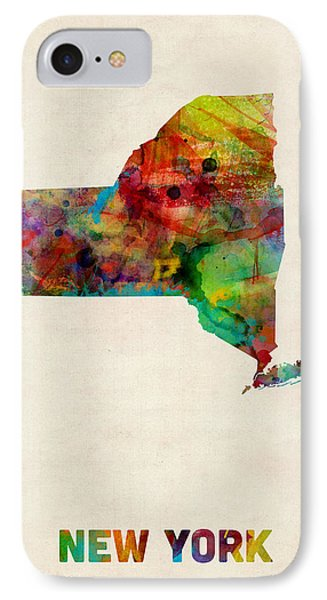 New York Watercolor Map IPhone Case by Michael Tompsett
