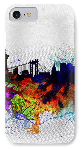 New York  Watercolor Skyline 1 IPhone Case