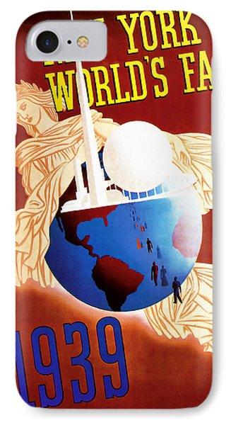 IPhone Case featuring the mixed media New York Worlds Fair 1939 Vintage Travel Art  by Presented By American Classic Art