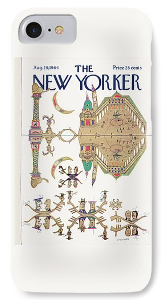 New Yorker August 29th, 1964 IPhone Case by Saul Steinberg