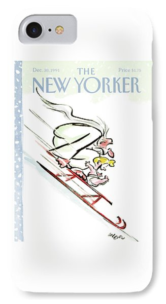 New Yorker December 30th, 1991 IPhone Case by Lee Lorenz