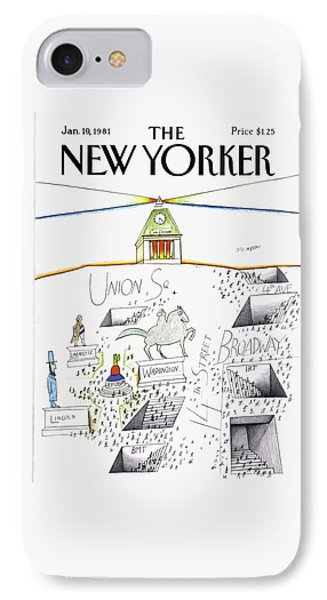 New Yorker January 19th, 1981 IPhone Case by Saul Steinberg