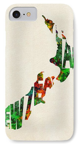 New Zealand Typographic Watercolor Map IPhone Case by Ayse Deniz