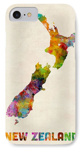 New Zealand Watercolor Map IPhone Case by Michael Tompsett