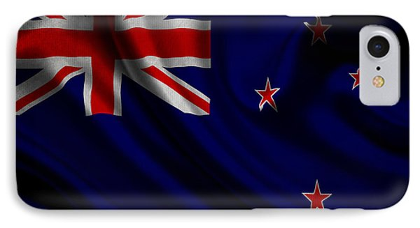 New Zealands Flag Waving On Canvas IPhone Case by Eti Reid