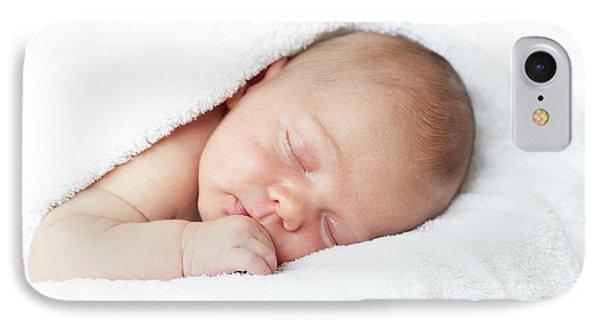 Newborn Baby Boy Asleep IPhone Case by Ian Hooton
