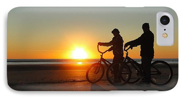 Newlyweds Pause To Embrace The Sunrise IPhone Case by Cindy Croal