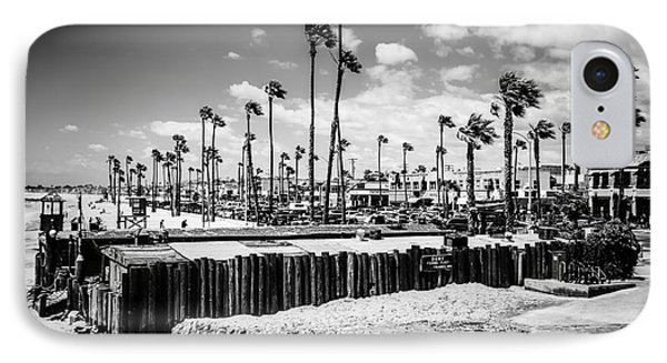 Newport Beach Dory Fishing Fleet Black And White Picture IPhone Case