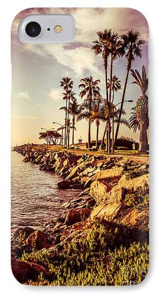 Newport Beach Jetty Vintage Filter Picture Phone Case by Paul Velgos