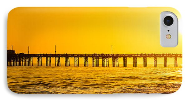 Newport Beach Pier Sunset Panoramic Photo IPhone Case by Paul Velgos