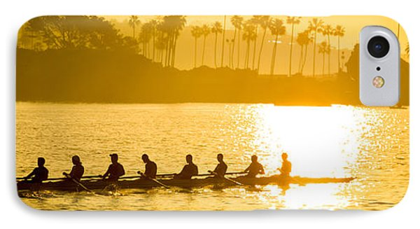 Newport Beach Rowing Crew Panorama Photo IPhone Case by Paul Velgos