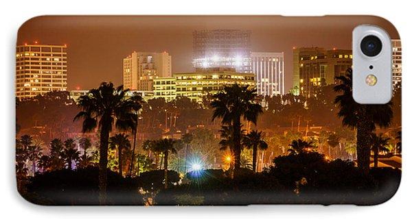 Newport Beach Skyline At Night IPhone Case by Paul Velgos