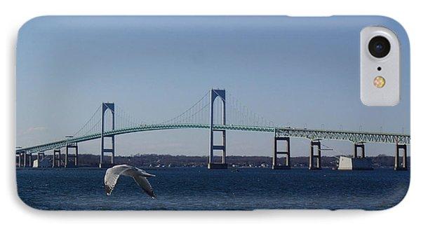 Newport Bridge IPhone Case by Robert Nickologianis