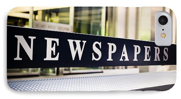 Newspapers Stand Sign In Chicago Phone Case by Paul Velgos