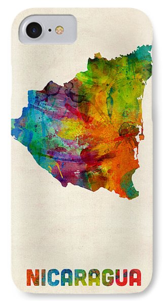Nicaragua Watercolor Map IPhone Case by Michael Tompsett