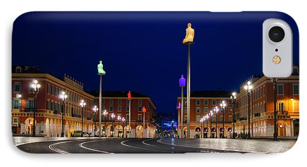 IPhone Case featuring the photograph Nice France - Place Massena Blue Hour  by Georgia Mizuleva