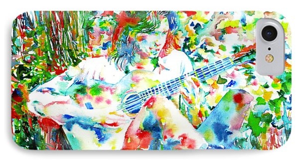 Nick Drake Playing The Guitar Under A Tree Watercolor Portrait Phone Case by Fabrizio Cassetta