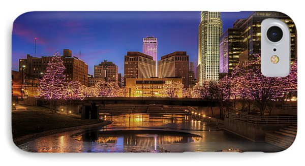 Night Cityscape - Omaha - Nebraska IPhone Case by Nikolyn McDonald