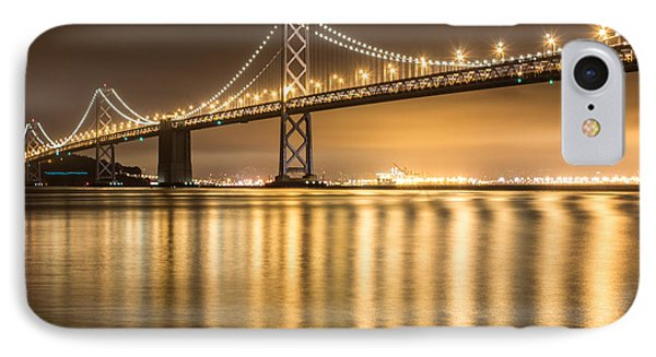 Night Descending On The Bay Bridge IPhone Case by Suzanne Luft