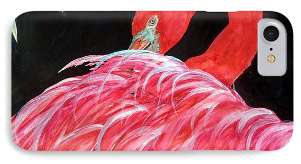 IPhone Case featuring the painting Night Flamingo by Lil Taylor