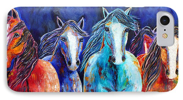 IPhone Case featuring the painting Night Horse Rendezvous by Jennifer Godshalk