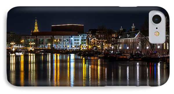 Night Lights On The Amsterdam Canals 6. Holland Phone Case by Jenny Rainbow
