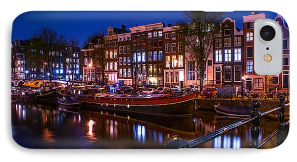 Night Lights On The Amsterdam Canals. Holland Phone Case by Jenny Rainbow
