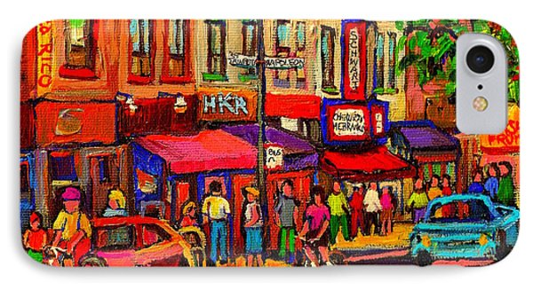 Night Riders On The Boulevard Rue St Laurent And Napoleon Deli Schwartz Montreal Midnight City Scene IPhone Case by Carole Spandau