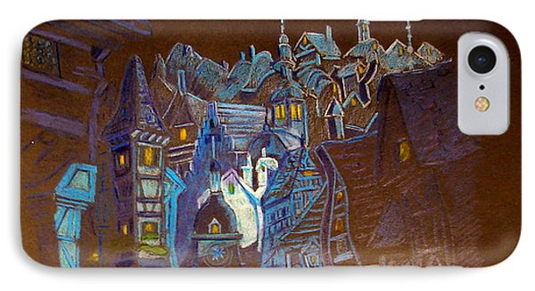 IPhone Case featuring the drawing Night Scene Tangled Town by Joseph Hawkins
