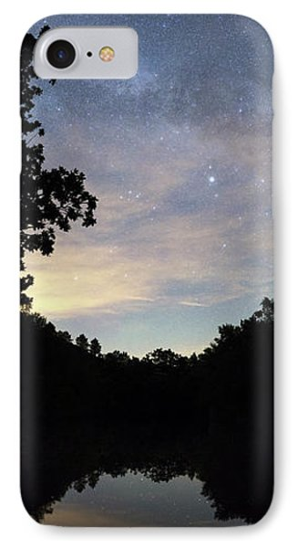 Night Sky Over A Lake IPhone Case by Laurent Laveder