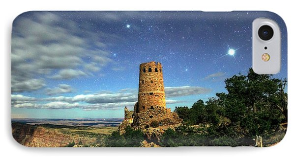 Night Sky Over Grand Canyon Watchtower IPhone Case by Babak Tafreshi