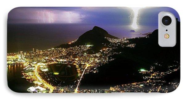 Night Storm Off Rio De Janeiro IPhone Case by Babak Tafreshi
