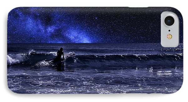 Night Surfer IPhone Case by Laura Fasulo