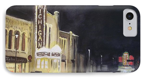 Night Time At Michigan Theater - Ann Arbor Mi IPhone Case by Yoshiko Mishina