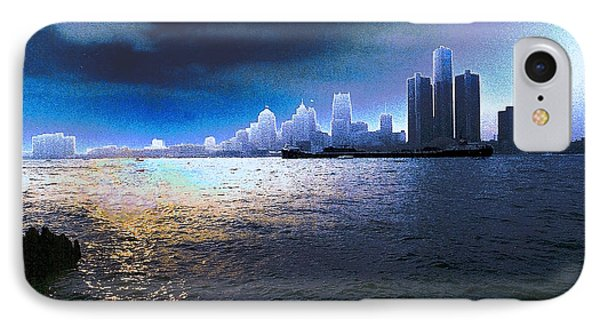 Night Time On The Detroit River IPhone Case