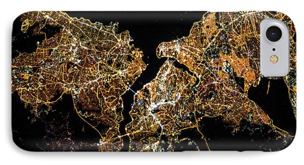 Night Time Satellite Image Of Istanbul IPhone Case