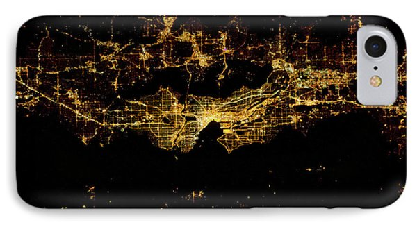 Night Time Satellite Image Of Seattle IPhone Case