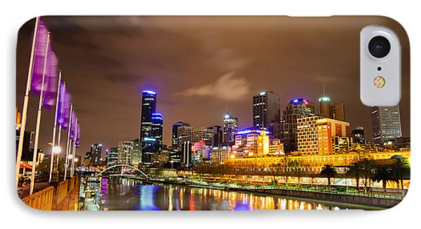 Night View Of The Yarra River And Skyscrapers - Melbourne - Australia Phone Case by David Hill
