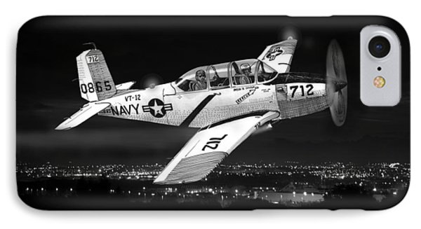 Night Vision Beechcraft T-34 Mentor Military Training Airplane IPhone Case by Jack Pumphrey